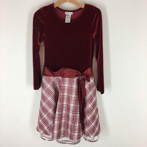 Bonnie Jean girls dress velvet plaid holiday ax 16